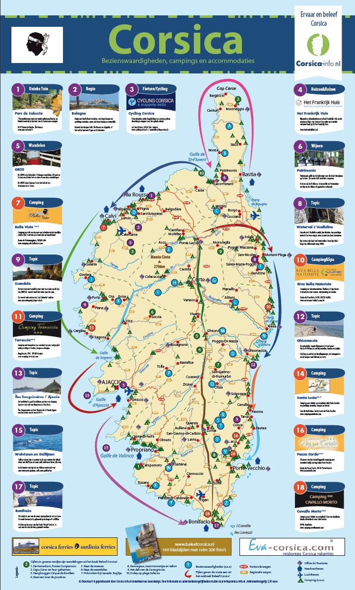 Kaart Corsica Corsica En Sardini 235 Info